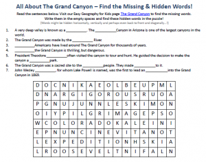 Worksheet Grand Canyon Worksheets grand canyon worksheet free to download printable find hidden our for kids