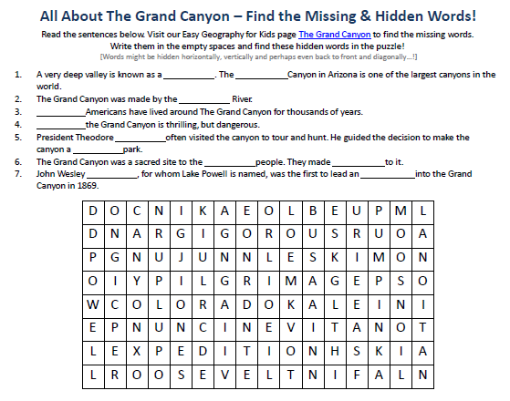 Worksheet Grand Canyon Worksheets image of the grand canyon worksheet free geography hidden words game