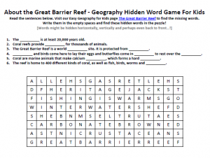 ... Great Barrier Reef Worksheet – FREE Word Searches for School Kids