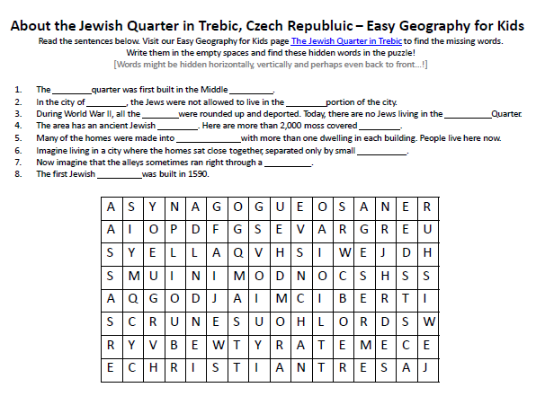 Image of the Jewish Quarter in Trebic, Czech Republic Worksheet ...