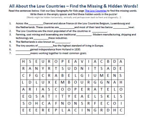 Download our FREE the Low Countries Worksheet for Kids!