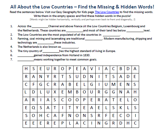 image of the low countries worksheet free hidden word geography kid games to print - Kids Worksheets To Print