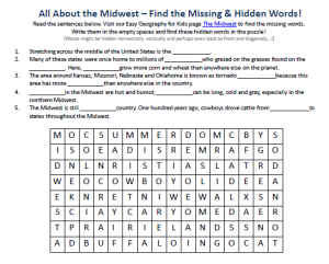 Download our FREE the Midwest Worksheet for Kids!