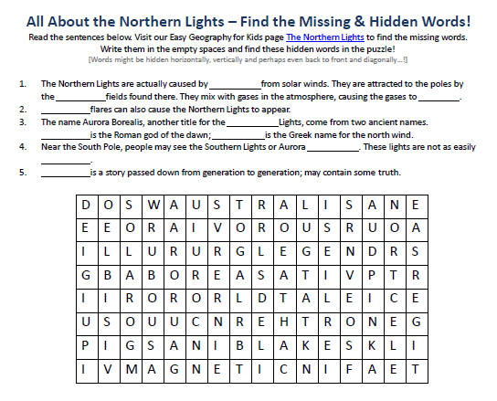 Image of the Northern Lights Worksheet - Free Easy ...