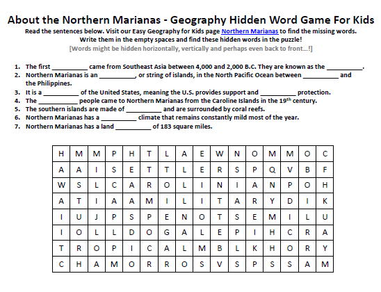 Northern Marianas Worksheet Free Word Search Puzzles Online