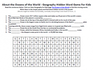 Download our FREE Oceans of the World Worksheet for Kids!
