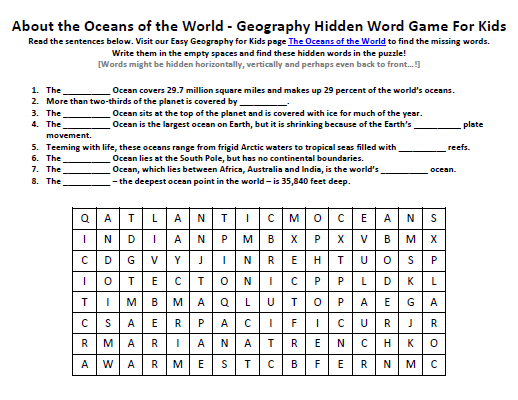 image of the oceans of the world worksheet free geography hidden words game easy science for. Black Bedroom Furniture Sets. Home Design Ideas