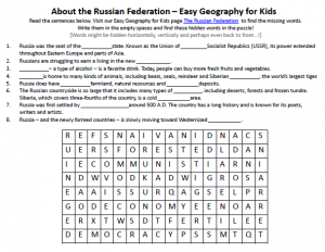 The Russian Federation Worksheet – FREE Word Searches Geography for ...