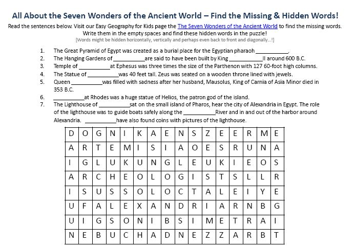 Printables Geography Worksheet image of the seven wonders ancient world worksheet fun geography worksheets for kids