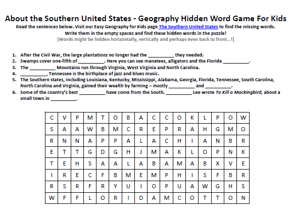 Image of the Southern United States Worksheet Free Geography – United States Geography Worksheets