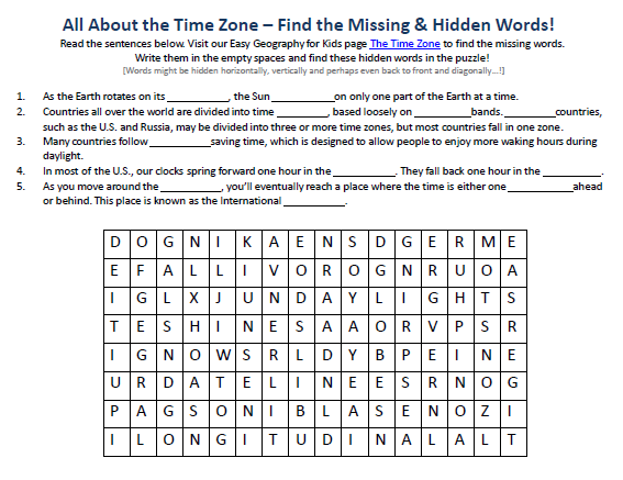 Image Of The Time Zone Worksheet Best Free Science Activities