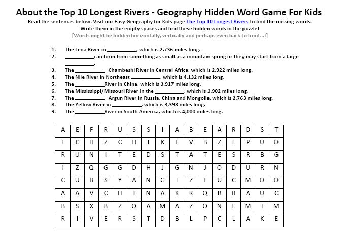 Image Of The Top Longest Rivers Worksheet Free Geography - 10 longest rivers