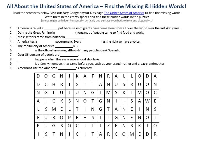 Printables United States Geography Worksheets image of the united states america worksheet free printable geography for kids find words puzzle
