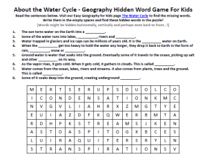 Water Cycle Worksheet - FREE Hidden Word Puzzle Worksheet Geography