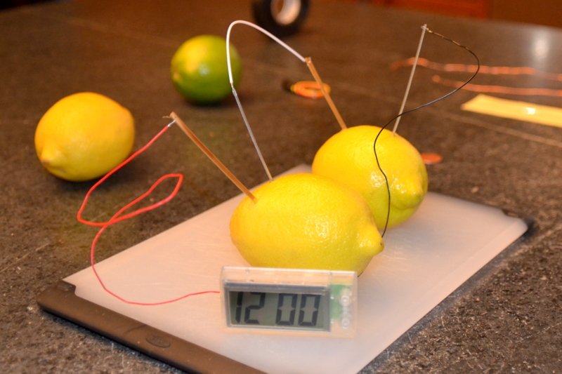 lemon battery science project Fruit battery science projects: making light with fruit by chelsea oliver while a single lemon battery produces less than one volt of electricity or a light emitting diode, is useful for this kind of science project because it is designed to work at low currents and voltages.