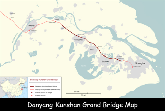 Danyang-Kunshan Grand Bridge Map